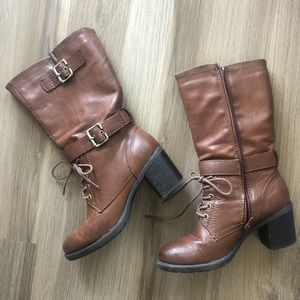 "Shoes - Kohl's Brown 2"" Heel Zip/Tie Combat Moto Boot S:7"